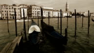 Gondolas rocking on the waves with Piazza San Marco on the background in Venecia, Italy video