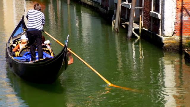 HD SUPER SLOW-MO: Gondolier Riding Gondola With Tourists video