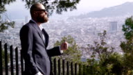 Good looking man with beard. The world is mine! video