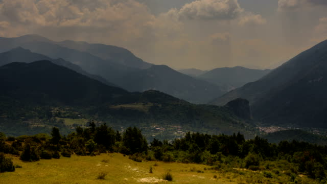 Gorges du Verdon Castellane village fields and mountains sunbeams video