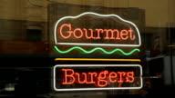 Gourmet burgers sign. video