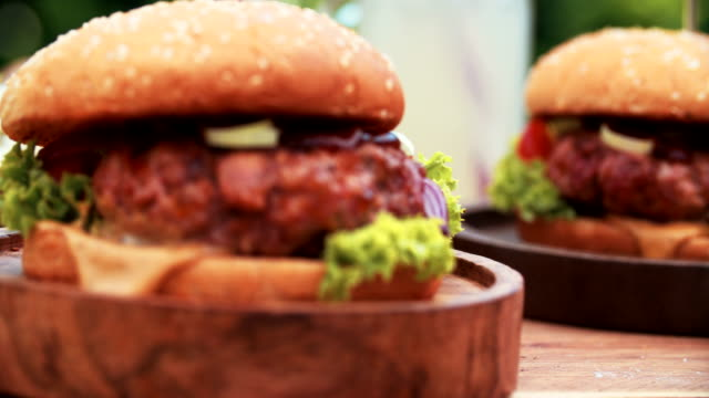 Gourmet burgers with prime beef patties looking fresh and delicious video