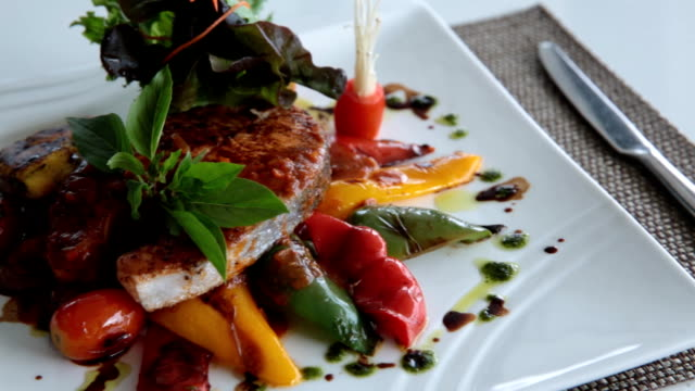 Gourmet food at restaurant video