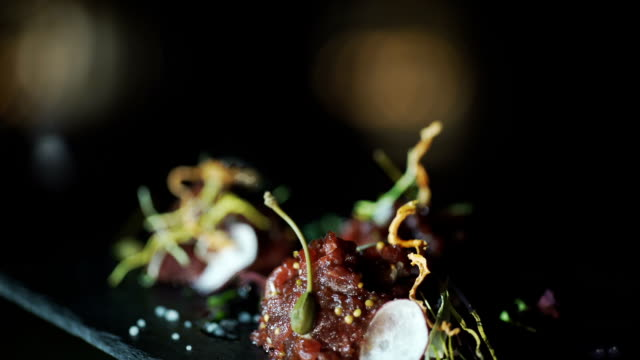 Gourmet meal raw meat video