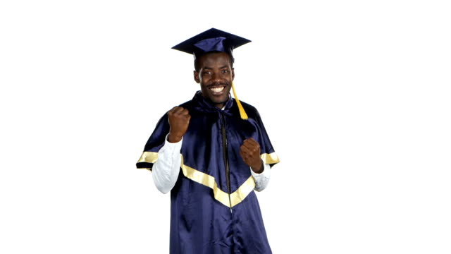 Graduate rejoices and dancing. White video