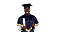 Graduate with diploma. White video