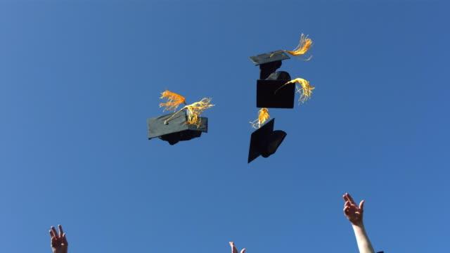 Graduates thow caps, slow motion video