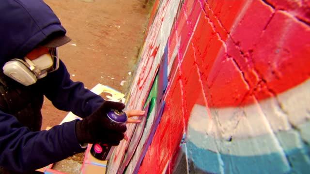 Graffiti Artist Painting Urban Wall video