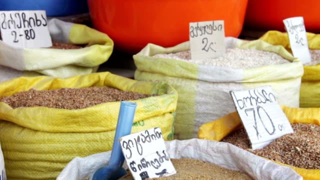 Grain in Sacks on the Market in Georgia video