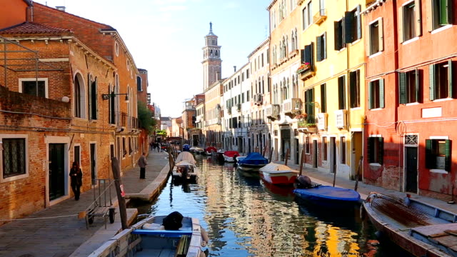 Grand Canal and colorful facades of old medieval houses in Venice, Italy. video
