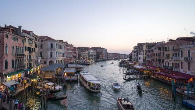 Grand canal from Rialto Bridge at sunset, Timelapse video