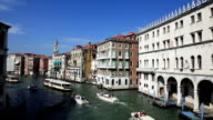 Grand Canal Gondolas and Taxi Boat, Venice, Italy video
