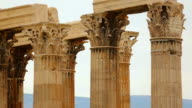 Grand panorama view of capitals and architraves on top of columns, Zeus temple video