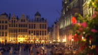 Grand Place in Brussels by sunset video