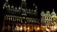 Grand Place of Brussels in night video