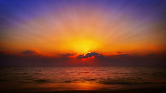 Grand sunset over sea video