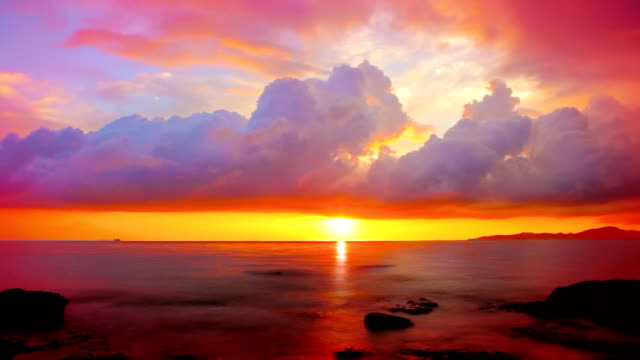 Grand sunset over sea. video