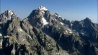 Grand Teton Mountain  - Aerial View - Wyoming,  Teton County,  helicopter filming,  aerial video,  cineflex,  establishing shot,  United States video
