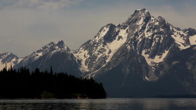 Grand Teton Mountain Range over Jackson Lake video