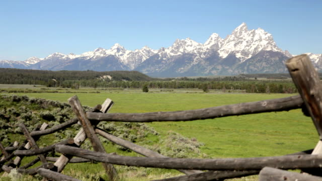 Grand Tetons and split rail fence video