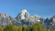 Grand Tetons Mountain Range over fall colors video