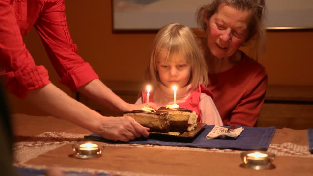 Granddaughter and Grandmother Receive Birthday Cake video