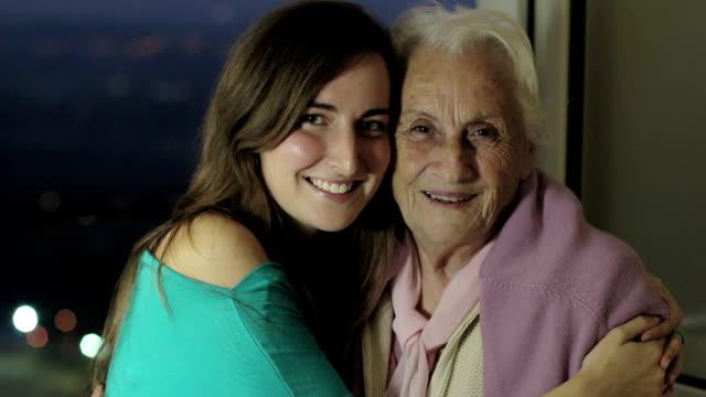 Granddaughter  kiss her grandmother video
