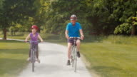 TS Granddaughter riding her bike through the park with granddad video