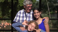 Grandfather and Grandchildren Acting Silly video