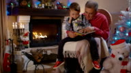Grandfather and grandson reading a book video