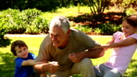 Grandfather playing with his grandchildren video