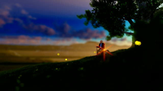 Grandfather resting under a tree on green meadow, flying fireflies video