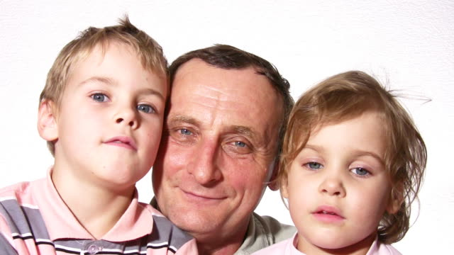 Grandfather with children video