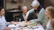 Grandma serving lasagna video