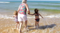 Grandmother And Grandchildren Playing In Waves video