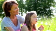 Grandmother And Granddaughter Blowing Dandelion In Field video