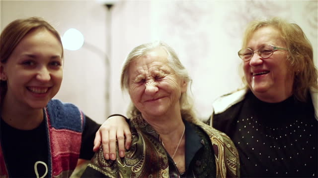 Grandmother, mother and granddaughter. video