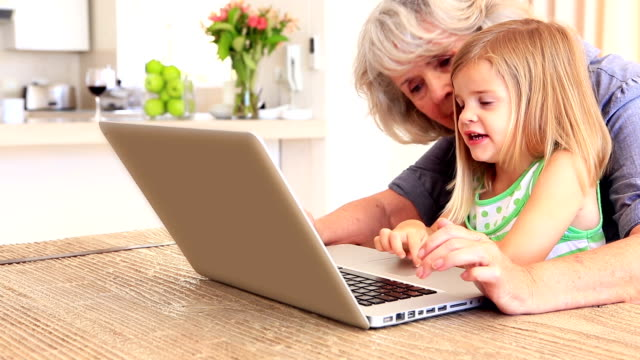 Grandmother using laptop with her granddaughter video