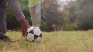Grandpa Playing Soccer Football With Boy video