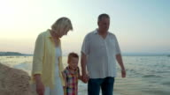 Grandparents and little grandchild walking on the beach video