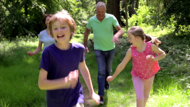 Grandparents Chasing Grandchildren Along Woodland Path video