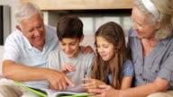 Grandparents chatting with grandchildren looking at photo album video