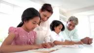 Grandparents Helping Grandchildren With Homework video