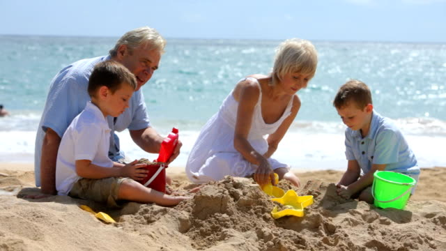 Grandparents play with grandchildren at beach video