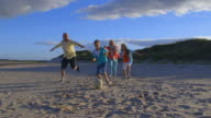 Grandparents Playing Soccer With Grandchildren On Beach video