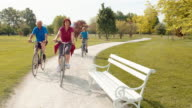 TS Grandparents riding bikes with grandchildren on sunny day video