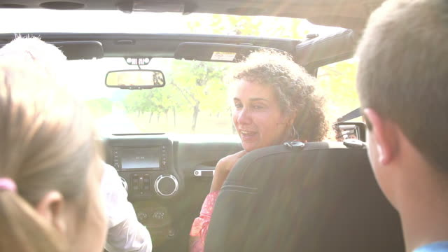 Grandparents Taking Grandchildren On Trip In Open Top Car video
