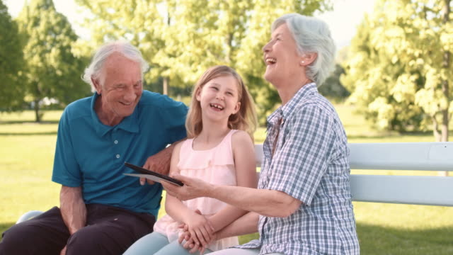 Grandparents using tablet with granddaughter while sitting in the park video