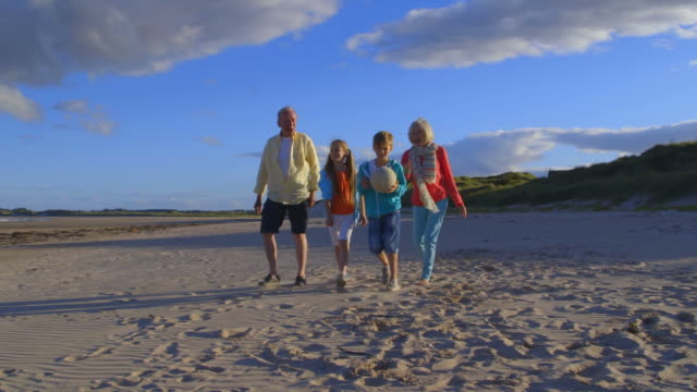 Grandparents Walk With Grandchildren On Beach In Slow Motion video