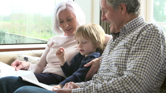 Grandparents With Grandson Reading Book On Sofa video